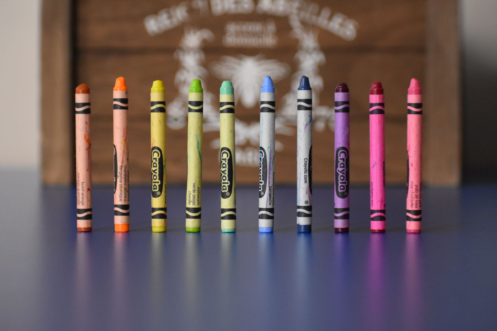 row of standing crayons